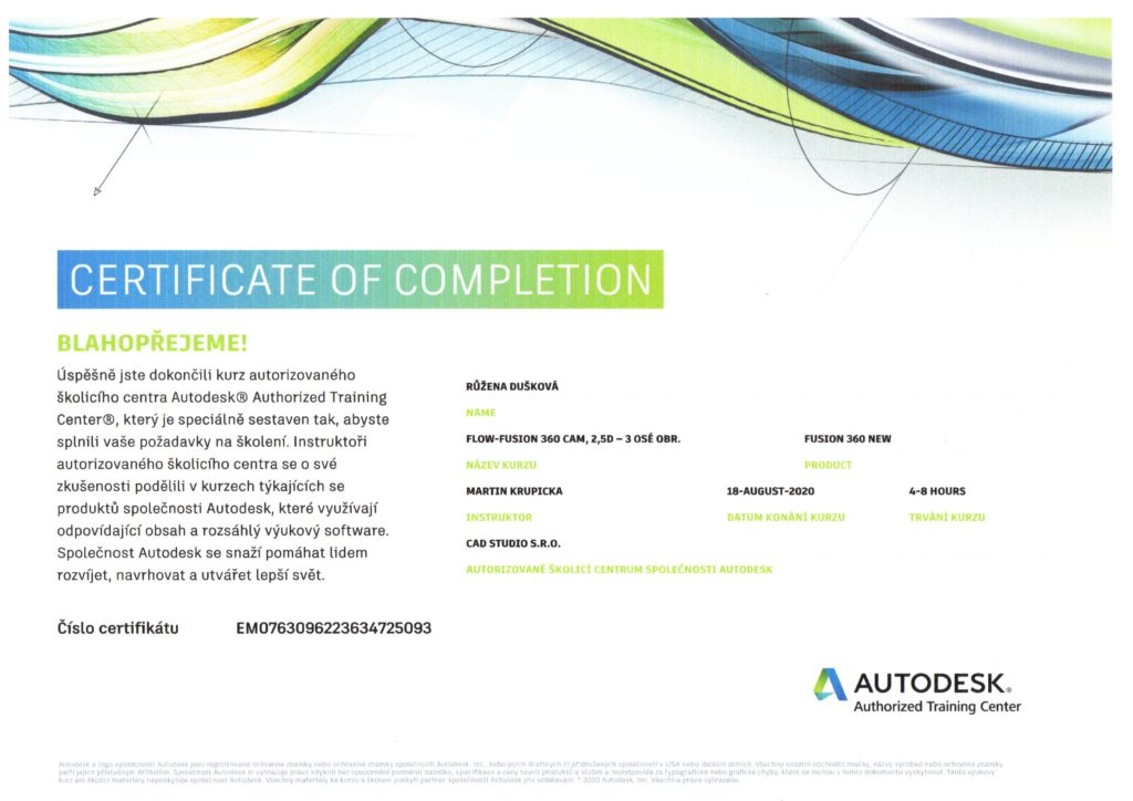 Certifikát Autodesk-Dušková