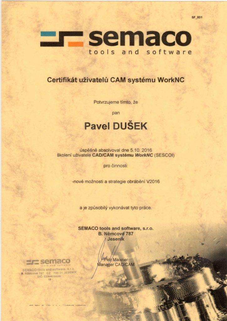 CNCPROGRAMOVANI-certifikát WorkNC 2016