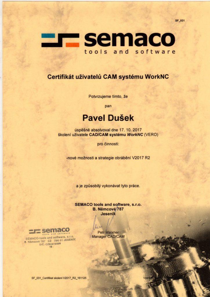 CNCPROGRAMOVANI-Certifikát WorkNC 2017
