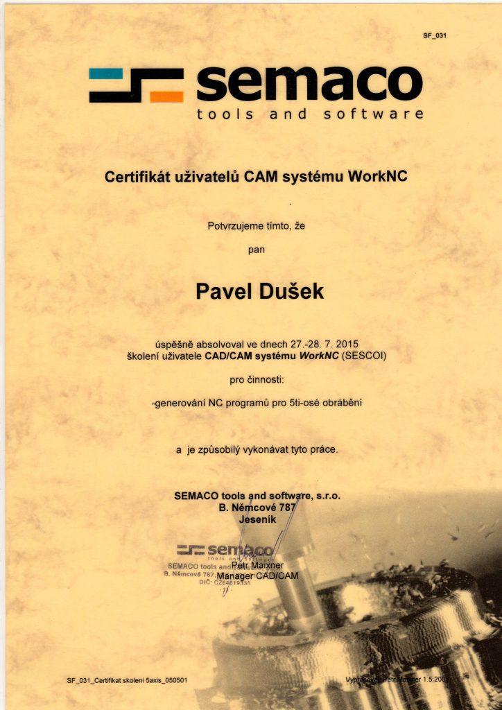 CNCPROGRAMOVANI-certifikát WorkNC 5ti-osé
