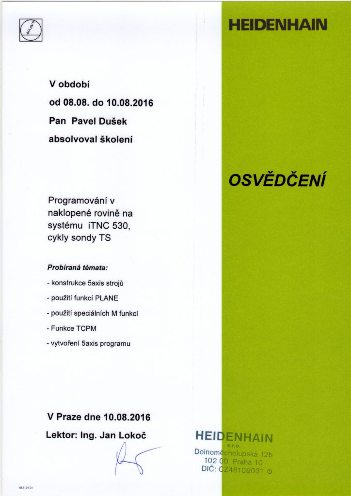 CNCPROGRAMOVANI-osvědčení Heidenhain 5axis